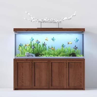 鱼缸水族, 摆件, 现代