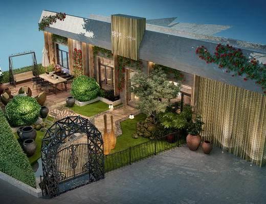 户外, 庭院, 花园, 现代, 园林景观
