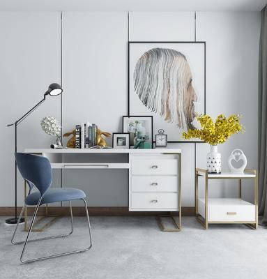 书桌, 休闲椅, 落地灯, 摆件, 装饰画, 北欧书房
