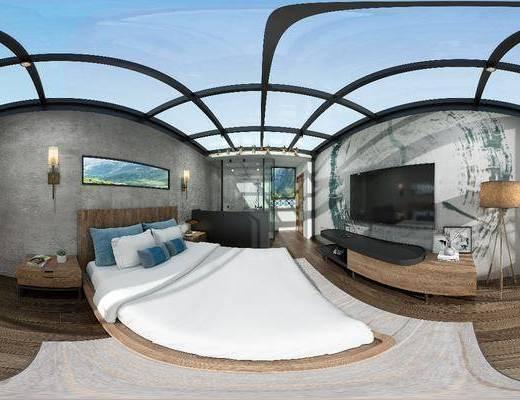 民宿, 卧室, 现代民宿, 现代卧室, 床具组合, 全景图, 壁灯, 电视柜, 落地灯, 现代