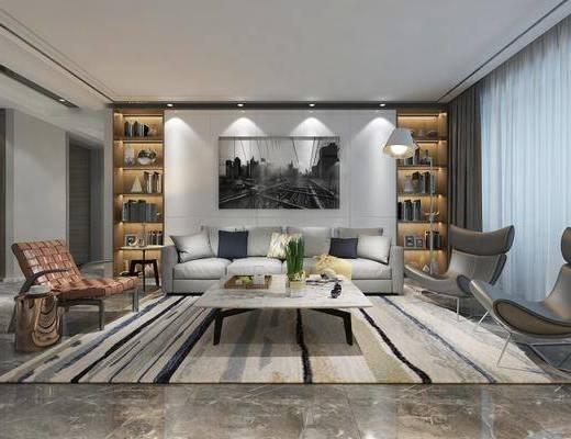 客廳, 沙發組合, 沙發茶幾組合, 裝飾柜組合, 擺件組合, 現代