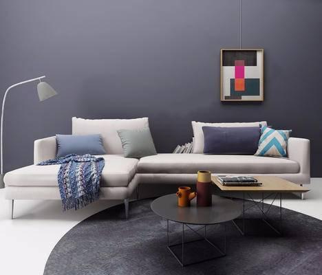 沙发组合, 茶几, 多人沙发, 摆件组合, 装饰画, 落地灯