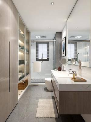 卫生间, 现代卫生间, 洗手台, 淋浴间