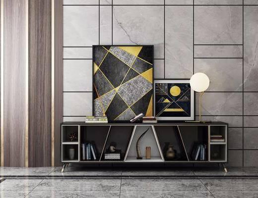 电视柜, 摆件组合, 现代电视柜