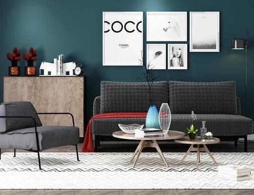 沙发, 茶几, 边柜, 沙发组合, 北欧, 圆几, 挂画, 装饰画, 落地灯, 单人沙发, 双人沙发, 陈设品, 摆件, 花瓶