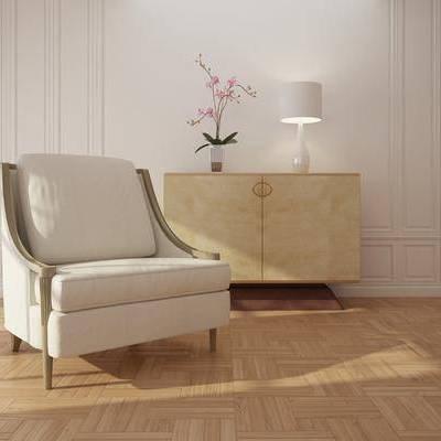 单人沙发, 边柜, 玄关柜, 台灯, 花瓶
