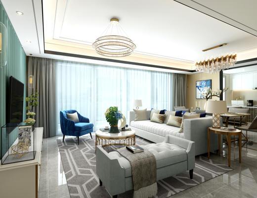 后现代, 沙发茶几组合, 客厅, 餐厅, 桌椅组合, 吊灯