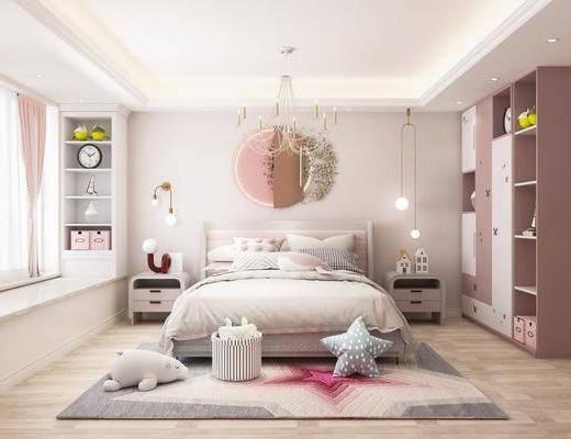 现代, 儿童房, 玩具摆件, 床头柜, 衣柜