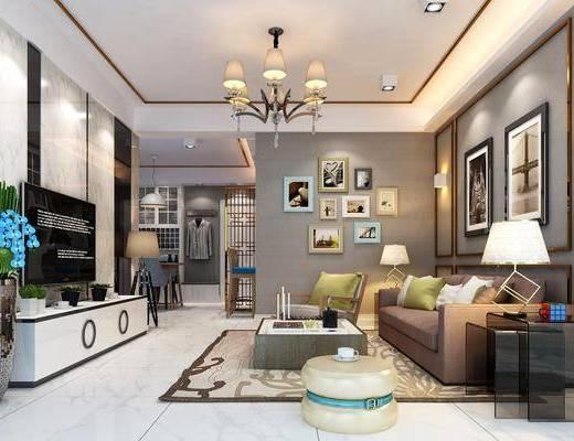 客厅, 沙发组合, 沙发茶几组合, 现代, 混搭风, 电视柜