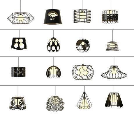 现代北欧铁艺吊灯, 工业风吊灯, 吊灯, 现代吊灯, 现代