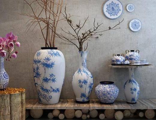 青花瓷组合, 陶瓷器皿, 摆件, 中式, 墙饰