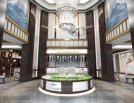 售楼部, 售楼处, 现代, 新中式, 休闲区, 洽谈区, 休闲椅, 桌椅组合
