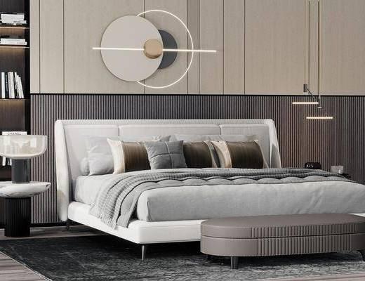 现代双人床, 床尾凳, 墙饰