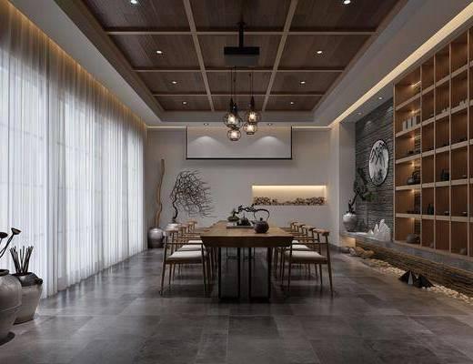 茶室, 茶桌, 单人椅, 盆栽, 绿植植物, 装饰柜, 圆框画, 新中式