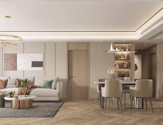 沙发组合, 餐桌, 吊灯, 电视, 茶几, 挂画, 摆件组合