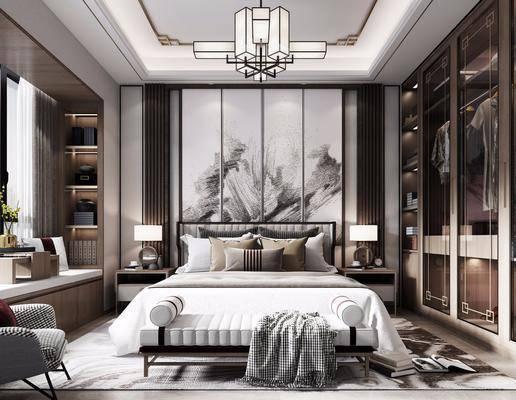 雙人床, 床具組合, 背景墻, 吊燈