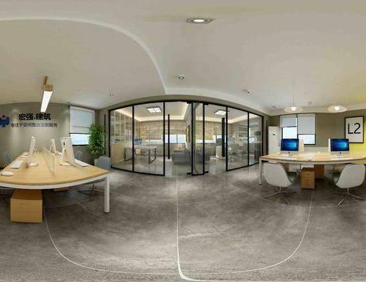 现代办公室, 办公室, 桌椅, 椅子, 办公桌