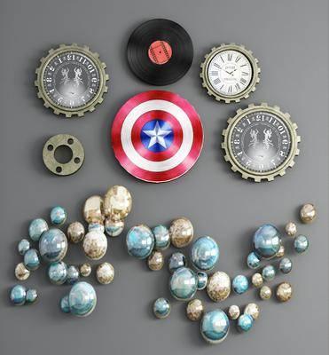 金属钟表, 墙饰组合, 挂件组合, 现代