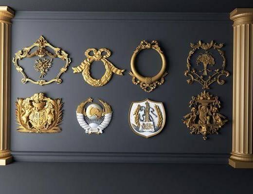 墙饰, 金箔雕花, 构件组合, 欧式