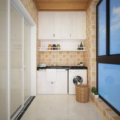 阳台, 露台, 现代, 洗衣机