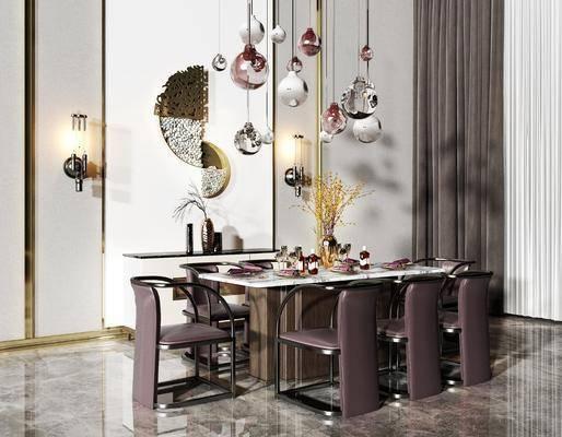 现代餐桌, 桌椅组合, 现代吊灯, 现代壁灯, 现代餐具, 花瓶, 装饰画