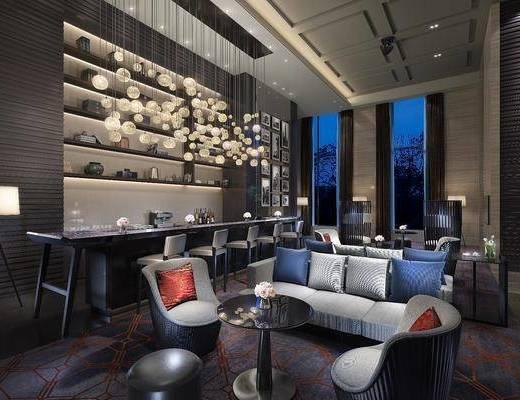 客厅, 多人沙发, 茶几, 单人沙发, 吊灯, 吧台, 吧椅, 落地灯, 单人椅, 装饰画, 挂画, 照片墙, 装饰柜, 摆件, 装饰品, 陈设品, 现代