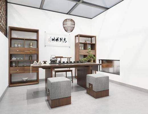 现代茶室, 茶桌椅, 吊灯, 柜
