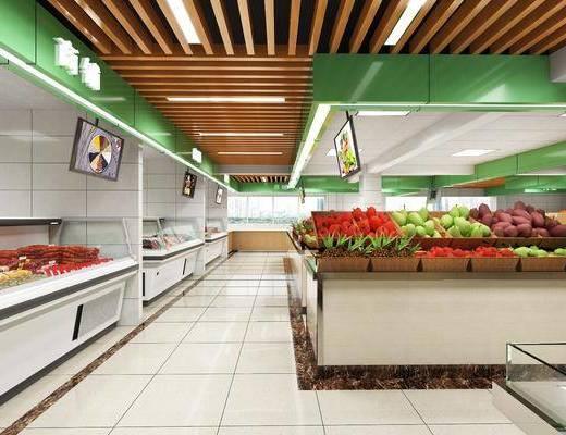 菜市场, 农贸市场, 蔬菜摊, 猪肉摊, 水果店, 冰柜, 现代