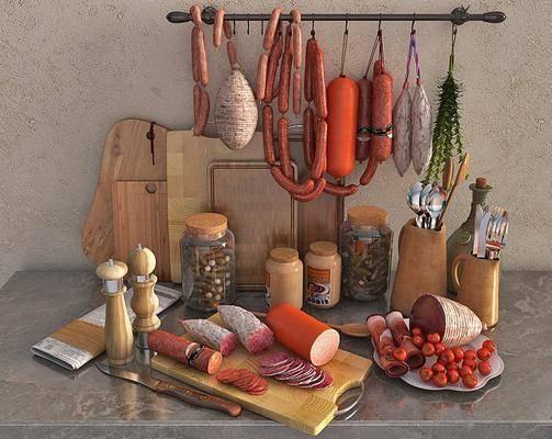 切菜板, 刀子, 叉子, 勺子, 香肠, 火腿, 欧式