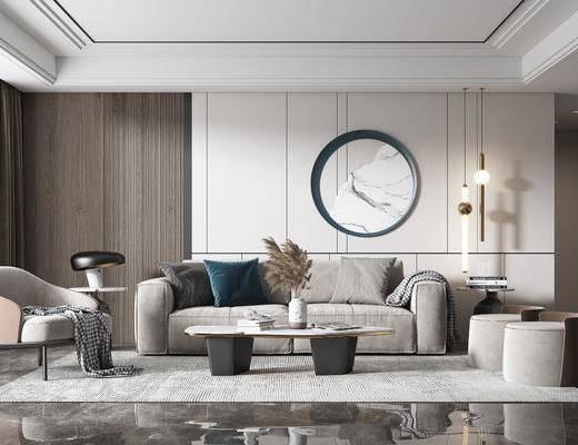 现代, 客厅, 多人沙发, 单人椅, 边几, 花瓶
