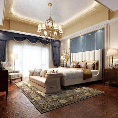 卧室, 双人床, 床尾凳, 床头柜, 台灯, 吊灯, 边柜, 单人沙发, 电视柜, 落地灯, 摆件, 装饰品, 陈设品, 美式