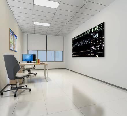 现代, 医院, 监控室, 办公室, 工装