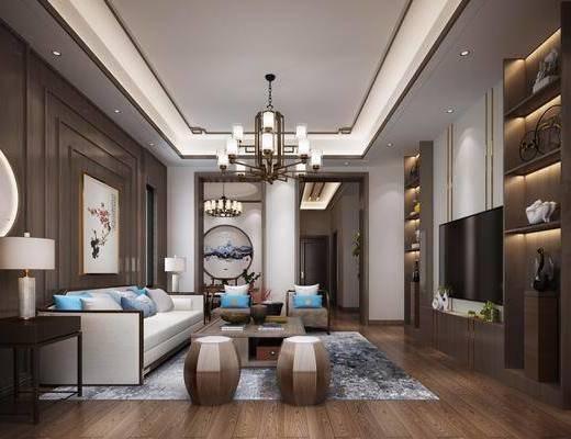 客厅, 沙发组合, 沙发茶几组合, 装饰柜组合, 吊灯, 摆件组合, 新中式