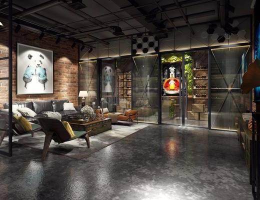 客厅, 多人沙发, 单人椅, 休闲椅, 茶几, 摆件, 装饰画, 边几, 台灯, 挂画, 装饰柜, 电视柜, 酒柜, 装饰架, 工业风