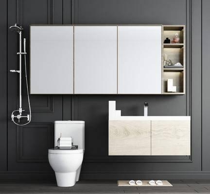 洗手台, 马桶, 浴室柜组合, 花洒, 摆件, 装饰品, 陈设品, 现代