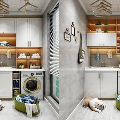 现代, 阳台, 洗衣机, 狗, 洗衣篮, 置物柜, 陈设品