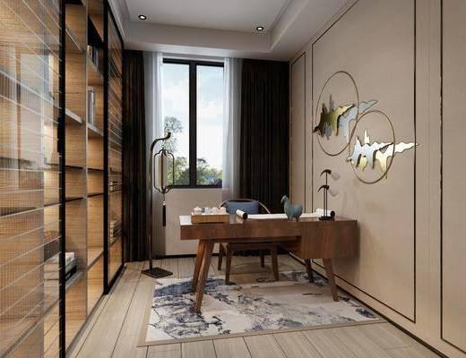 桌椅组合, 书柜, 墙饰, 摆件组合
