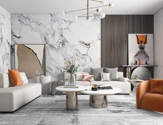 沙发组合, 茶几, 装饰画, 花瓶, 书籍, 抱枕