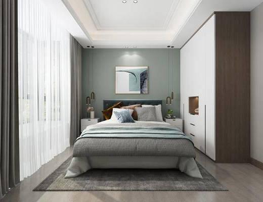 卧室, 现代, 衣柜, 双人床, 地毯, 挂画, 床头柜