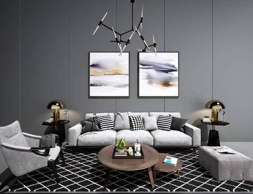 现代沙发茶几组合, 北欧沙发茶几组合, 现代挂画, 北欧挂画, 现代吊灯, 北欧吊灯