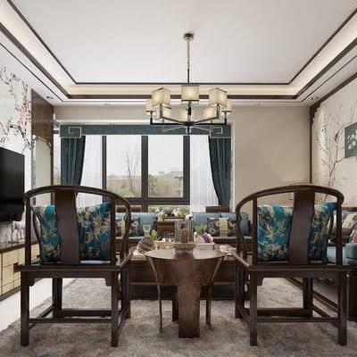 客厅, 中式客厅, 中式, 沙发组合, 多人沙发, 电视柜, 单椅, 吊灯, 茶几, 边几