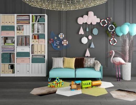 儿童书柜, 装饰柜, 墙饰, 摆件组合, 双人沙发, 现代