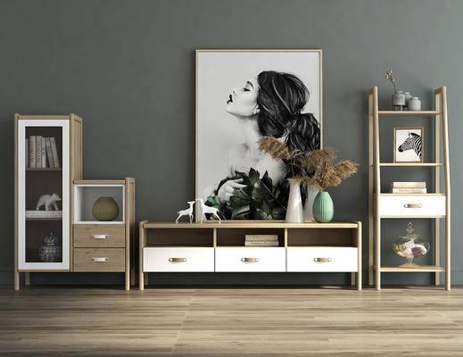 电视柜组合, 边柜, 人物画, 装饰画, 摆件, 装饰品, 陈设品, 花瓶花卉, 北欧