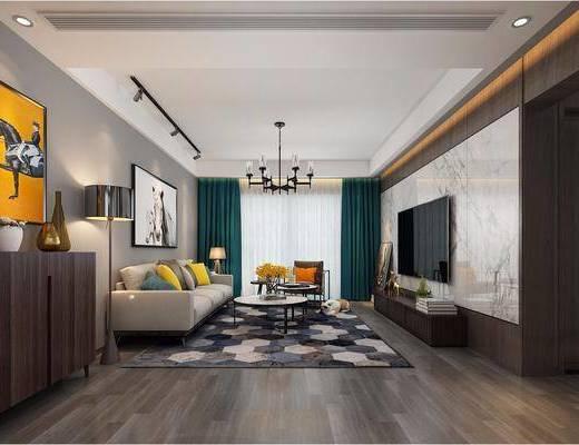现代客餐厅, 现代客厅, 现代餐厅, 现代吊灯, 沙发组合, 餐桌椅
