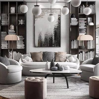 多人沙发, 单人沙发, 布艺沙发, 凳子, 茶几, 落地灯, 摆件, 装饰品, 陈设品, 吊灯, 装饰画, 挂画, 装饰柜, 书籍, 现代