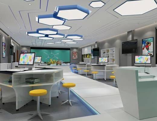 科技教室, 机器人, 电脑桌, 电脑, 吸顶灯, 现代