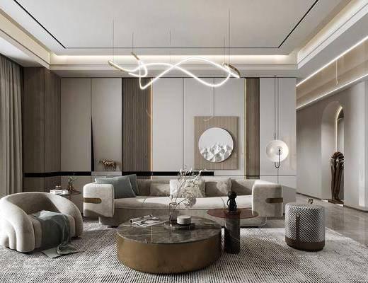 现代绒布沙发组合