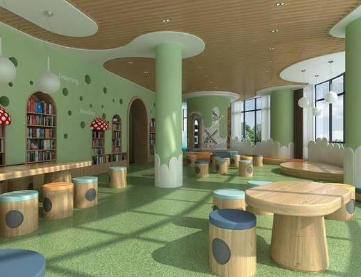 早教, 幼儿园, 墙饰, 书柜, 书籍, 桌椅组合