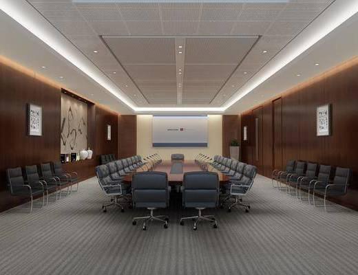 会议室, 会议桌, 办公桌, 办公椅, 单人椅, 绿植植物, 现代