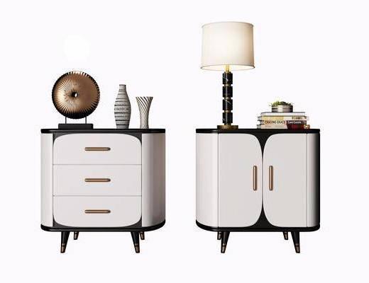 床头柜, 摆件组合, 台灯, 柜架组合